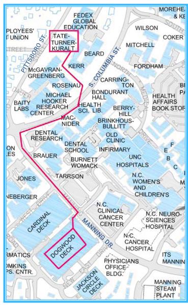 Illustration: Walking Path from Dogwood Deck to Tate-Turner-Kuralt Building