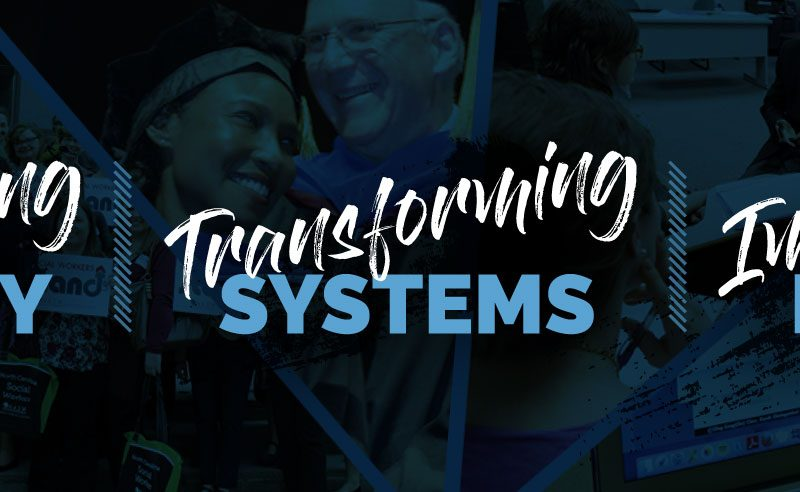 """graphic image of UNC School of Social Work Mission Statement, """"Advancing Equity, Transforming Systems, Improving Lives"""""""