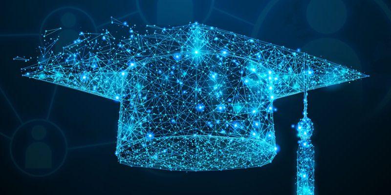image representing a graduation cap and alumni social networks