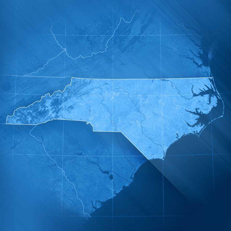 state of North Carolina in blue
