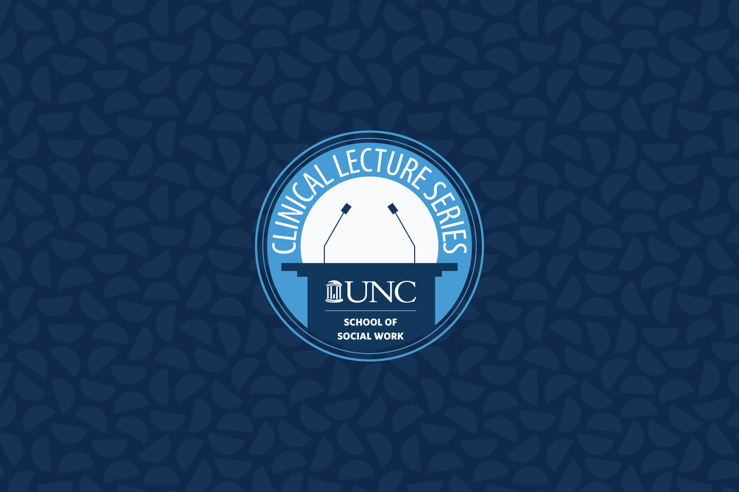"""Illustration on navy background, with microphones above a lectern labeled """"Clinical Lecture Series"""""""