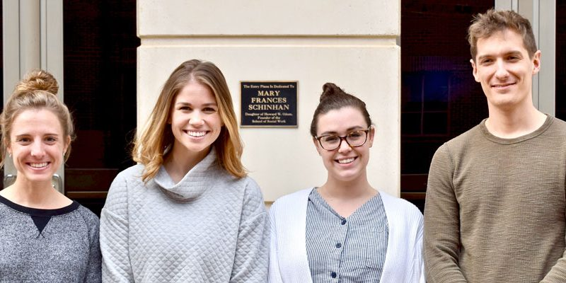Students selected for Governor's Institute on Substance Abuse scholarship (From left: Laura Humphrey, Annie Grant, Ashley Esry, and Charles Sapp)