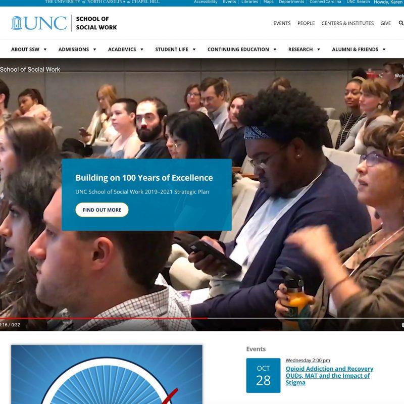 Screenshot of the homepage of the School of Social Work's new website
