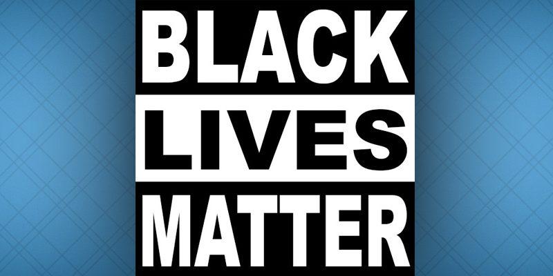 """""""Black Lives Matter"""" logo on Carolina blue background"""